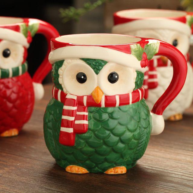 Stained glass gufo di ceramica idee regalo tazza tazza di ceramica tazza animale tazza di ceramica ball mug con impugnatura tazze di caffè