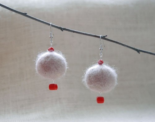 Earrings felted geometric round red beige gifts by CityCrochet, $12.95