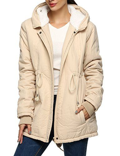 Meaneor Womens Winter Warm Thicken Fleece Jacket Hooded Parka Coat Top Beige M -- Check this awesome product by going to the link at the image.