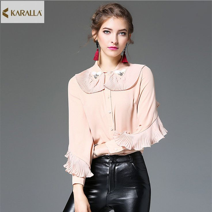 2017 women spring summer runway fashion long sleeve ruffles handmade beading blouse office lady wear blouse top D0083