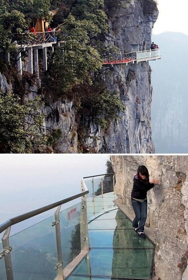 """""""Walk of Faith"""" glass pavement on the side of a 4,690 ft mt. in China"""