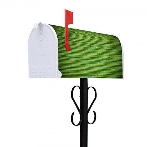 banjado - US Mailbox 17x22x51cm amerikanischer Briefkasten mit schwarz lackiertem Ständer und Motiv Bambus Grün
