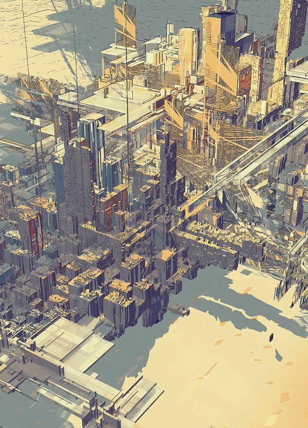 Amazing architectural illustrations.  Legendary Cities II   Atelier Olschinsky
