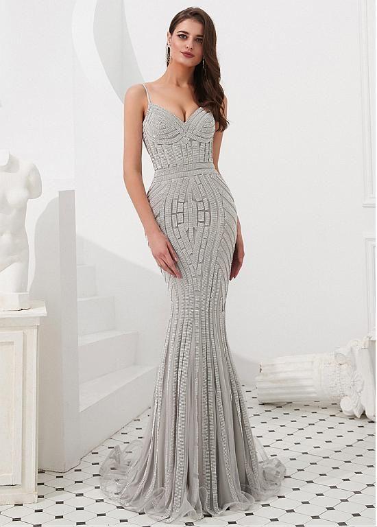 2727dd54b7b42e Brilliant Tulle Spaghetti Straps Neckline Floor-length Mermaid Evening  Dresses With Rhinestones - Adasbridal.com