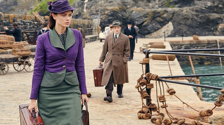 Sam Neill, Charles Dance, Maeve Dermody, Toby Stephens, Noah Taylor, Burn Gorman, Anna Maxwell Martin, Christopher Hatherall, and Aidan Turner in And Then There Were None (2015), filmed at Mullion Cove harbour