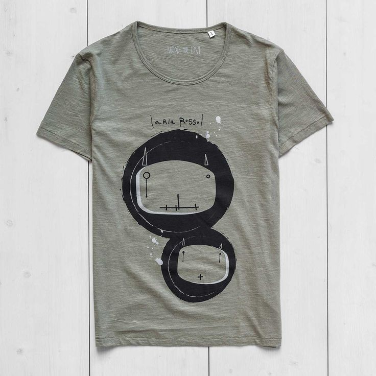 Men's Printed T-shirt slub cotton light khaki Bugs Ariarosso