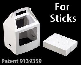 """3287x3288 - 8 1/2"""" x 6"""" x 8"""" White/White Cake Pop Box Set for Sticks, 50 COUNT"""