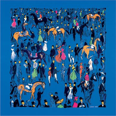 Hermes scarf: Paddock, Jean-Louis Clerc, 1955