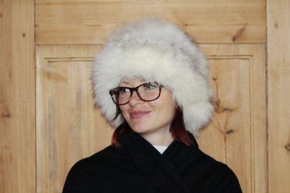 White fur hat Real fur hat Rabbit fur hat Warm winter hat Soviet vintage winter hat Cold winter hat Womens fur hat Soviet hats