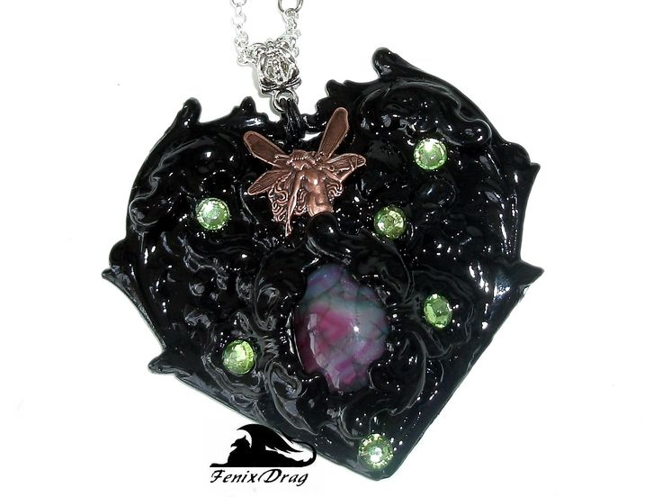 """Pendant """"Black heart"""" from the collection """"Black Vintage"""" in Vintage, Simpang, Gothic styles"""