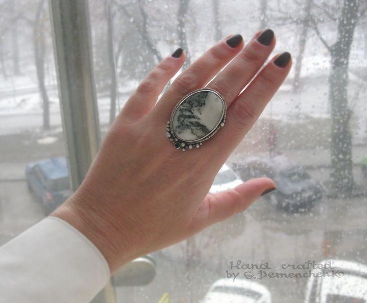 """Перстень """"Шангри - Ла"""", серебро 925, моховой агат (3,5 х 2,5 см), р-р универсальный"""