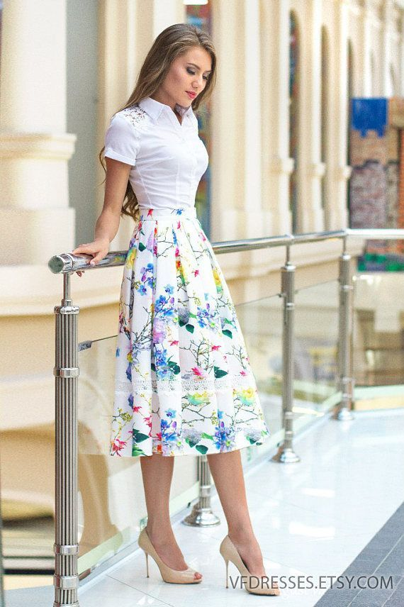 "Midi Floral print Skirt with box pleats and lace trim from the collection ""Azhur…"