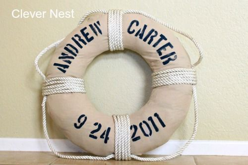 Vintage DIY Life Preserver nautical wedding decoration