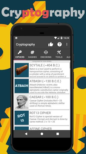 Cryptography v1.4.3 [Unlocked]   Cryptography v1.4.3 [Unlocked]Requirements:4.1 and upOverview:Cryptography is a cipher hashing encoding and learning tool for all ages. My goal is to make this app a number one cryptography tool around Google Play. I do this alone as a hobby like my other apps too so progress could be slow. Try out and see more!  Cryptography is a cipher hashing encoding and learning tool for all ages. My goal is to make this app a number one cryptography tool around Google…