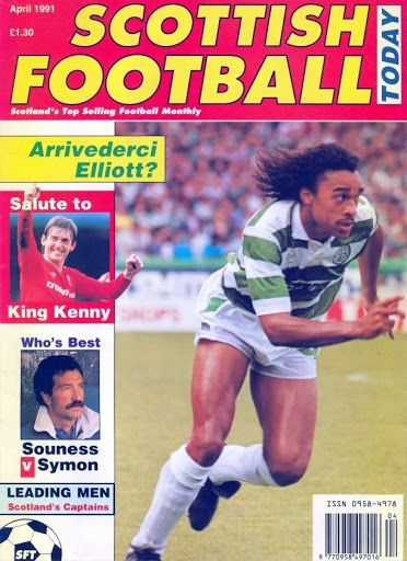 Scottish Football Today magazine in April 1991 featuring Paul Elliott of Celtic on the cover.