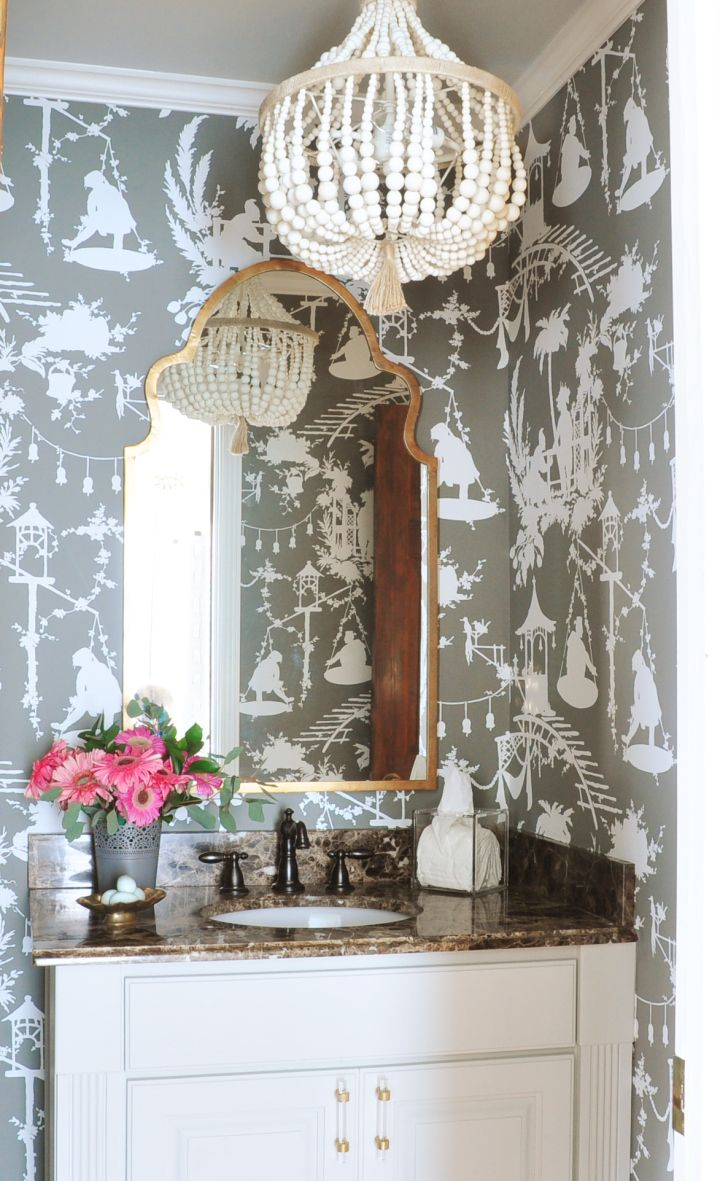 Dixie Delights: Before and after powder room - wallpaper, chandelier