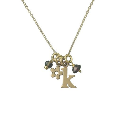 """14K Gold Two Initials Necklace, 18"""""""