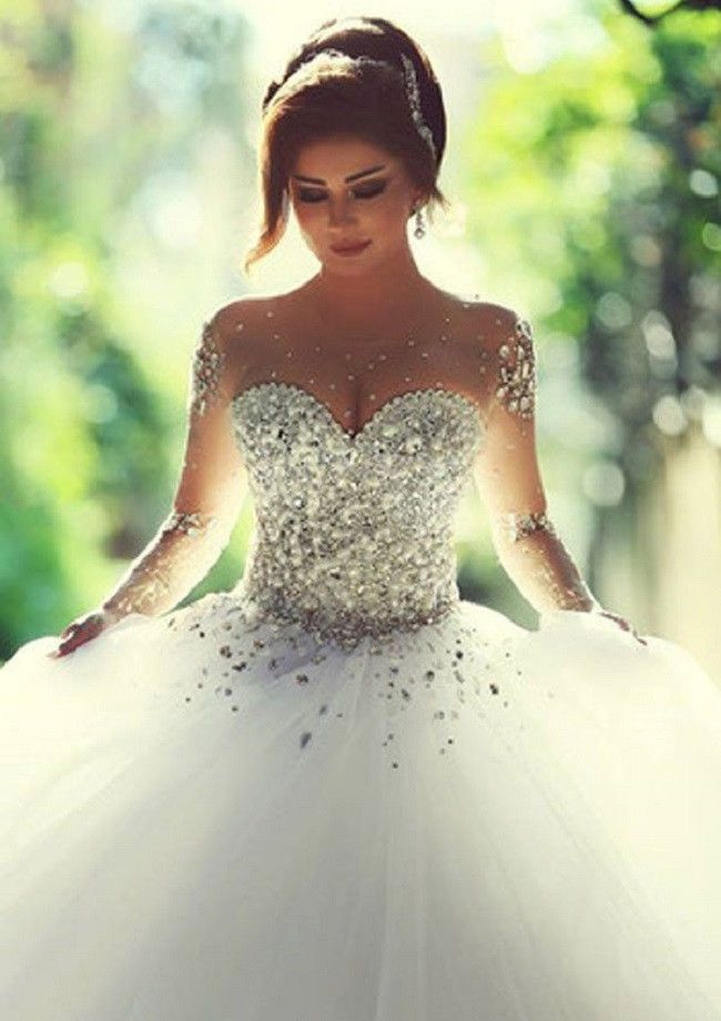 Shining & Sparkly Illusion Neck Long Sleeves Lace Up Rhinestone Beaded Tulle Wedding Dress,Wedding Ball Gown