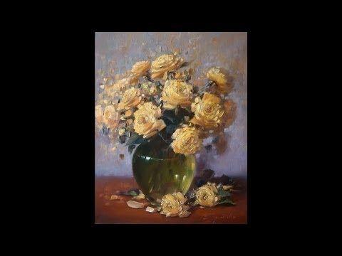 Персиковые розы в зеленом стекле. Process of creating oil painting from Oleg Buiko. - YouTube