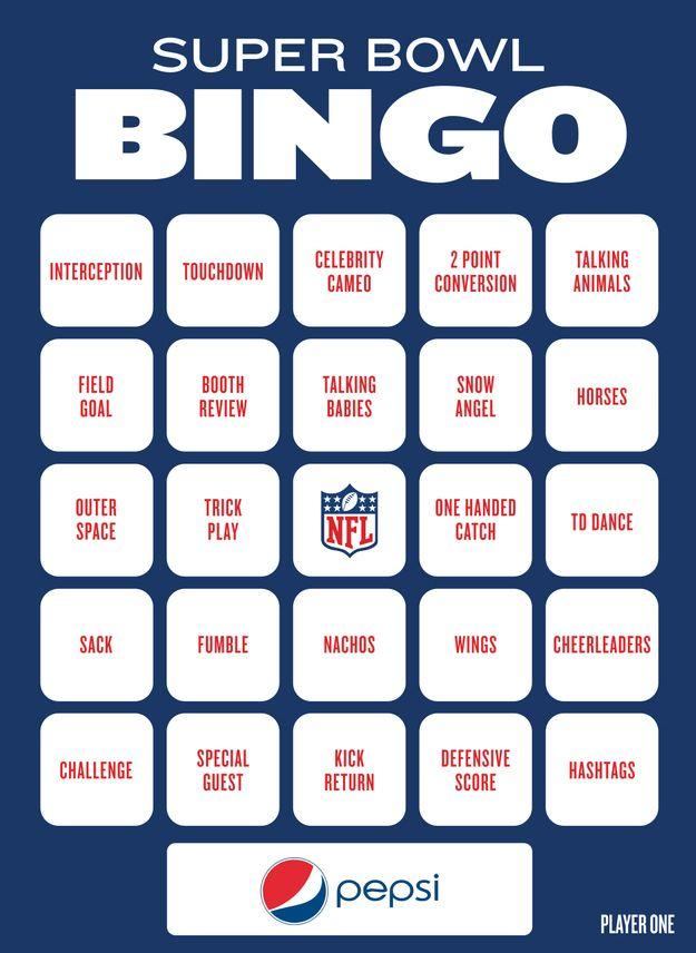Super Bowl Bingo To Play During The Big Game - Fun game to play with your friends and watch in your college dorm room!