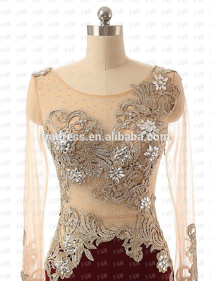 2015 borgonha cetim puro mangas compridas lantejoulas sereia vestidos longos de noite por ocasião do casamento f& mg20-imagem-Vestidos & saias XL-ID do produto:60216161079-portuguese.alibaba.com