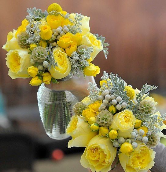 Yellow And Grey Flowers Wedding Flowers And Reception