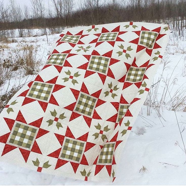 Gingham Stars ~ Christmas/ winter- themed quilt, love the holly berry bunches! | pattern from the book 'Holiday Wishes' (#ISE-912) by Sherri Falls of This & That Pattern Company, $20 | via Fat Quarter Shop