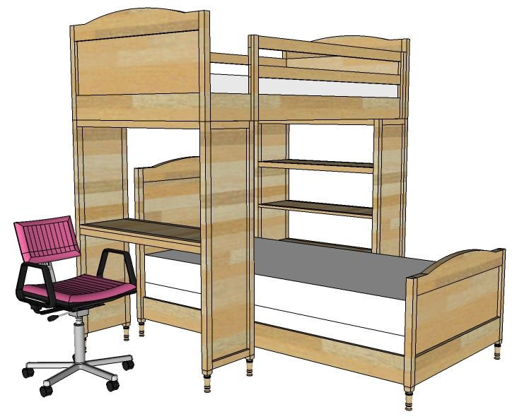bunk bed system desk or bookshelf supports free and easy diy project and furniture plans - Free Loft Bed With Desk Plans