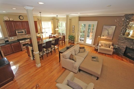 open kitchen and living room | open living room/kitchen space | House