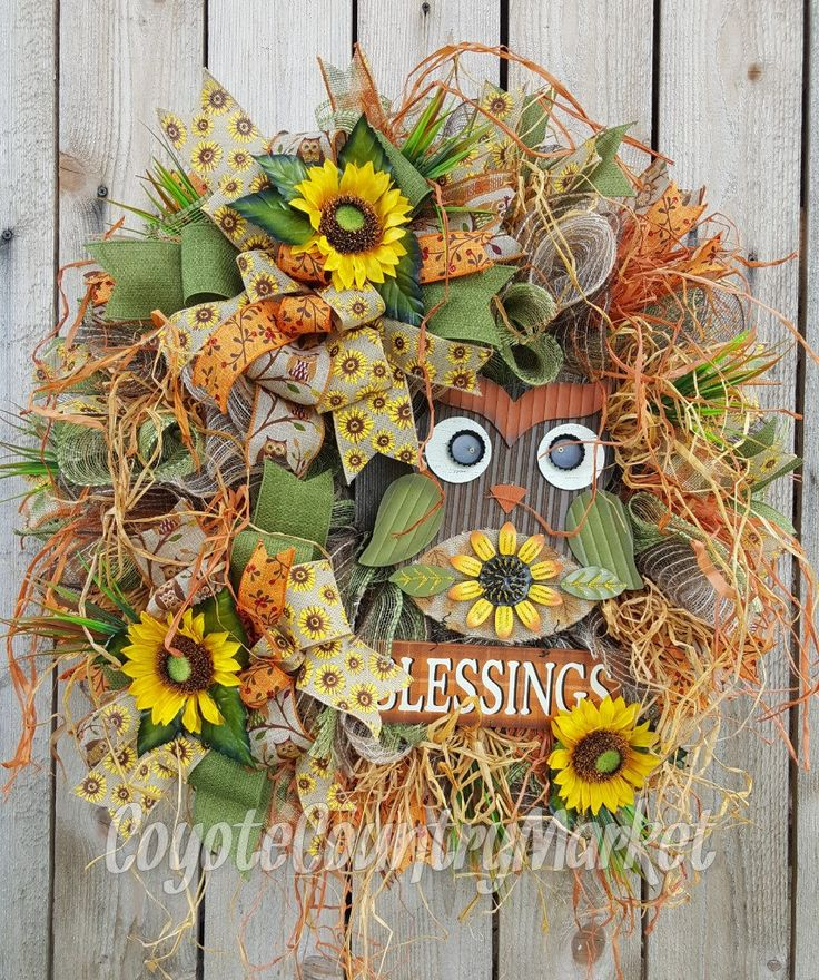 Blessings Fall Mesh Wreath-Owl Wreath-Welcome Door Wreath-Fall Wreath-Autumn Wreath-Welcome Wreath-Wreath For Front Door-Sunflower Wreath by CoyoteCountryMarket on Etsy