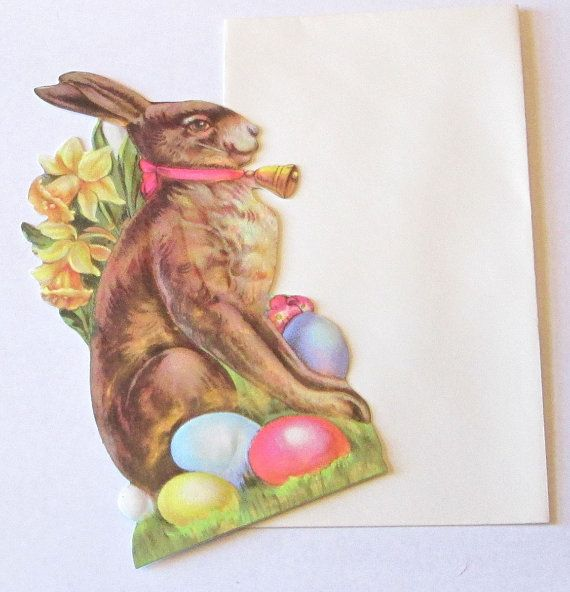 New Victorian high quality thick embossed die cut Easter Bunny Rabbit w colorful eggs and daffodils flowers scrap greeting card w envelope