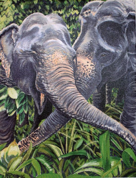Elephant painting on canvass of best friends, Jokia & Mae Perm