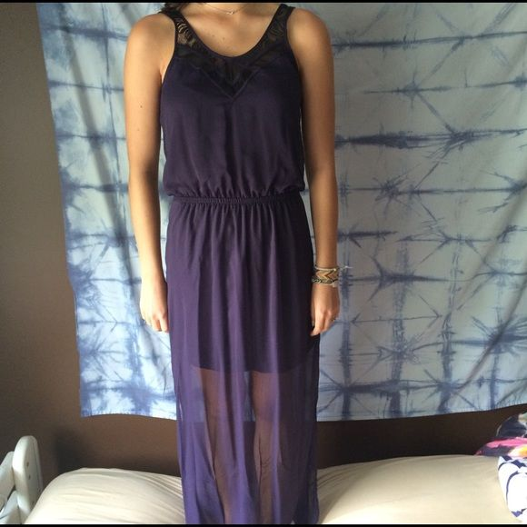 Sheer full length dress A plum sheer full length dress from express with black lace detailing. Express Dresses