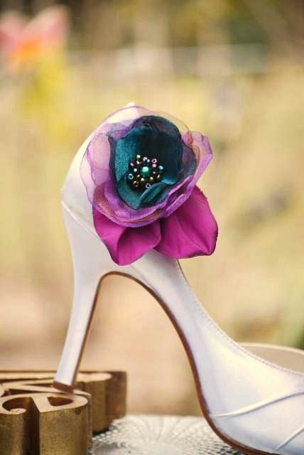 Bridal Shoe Clips Teal Blue Purple Organza Jeweled Flower. Winter pantone bride, Chic couture elegant fabulous jewel tones, feminine chic - pinned by pin4etsy.com