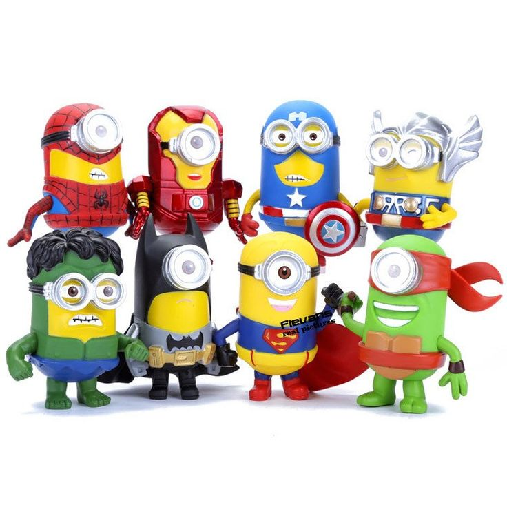 Minion Avengers Superheroes Action Figures Toys (8pcs/set 3D Eye )
