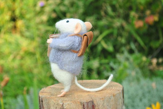 Wool mouse Needle felted mouse Miniature animal by MillaKnitt