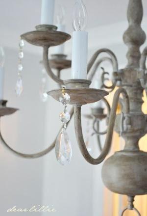 Dear Lillie: Making Over a Chandelier with Annie Sloan Chalk Paint in Paris Gray and dark wax. by bethany