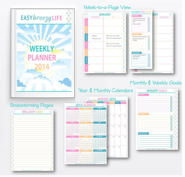 FREE downloadable planner for 2014 . Includes yearly and monthly calendars, week-to-a-view planner pages, monthly and weekly goal worksheets, and space for brainstorming. Download your Easy Breezy Life Weekly Planner 2014 from http://easybreezyparties.com.au/party-inspiration-and-ideas/item/36-your-free-easy-breezy-life-weekly-planner-2014.html #planner #weeklyplanner #easybreezylife #easybreezyparties
