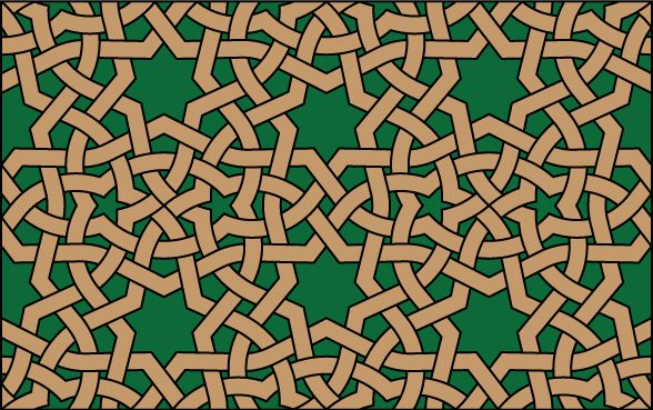A median Islamic geometric pattern with 7-fold symmetry and 7-pointed stars that repeats on an elongated hexagonal grid.