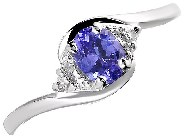 F.HINDS - Diamonds - Diamond Rings - Dress Rings - 9ct White Gold Tanzanite And Diamond Crossover Ring - F.Hinds