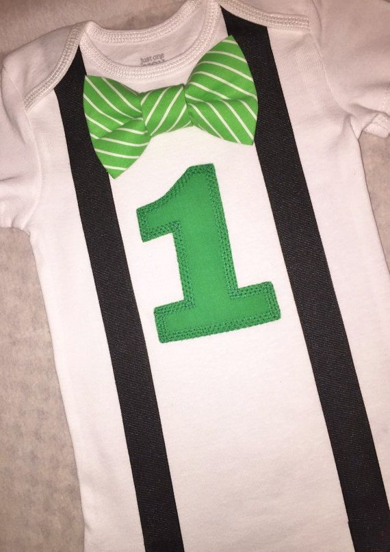 First birthday bow tie and suspenders onesie for your special one year old baby boy!! - Green and White striped Bow Tie with solid Green 1