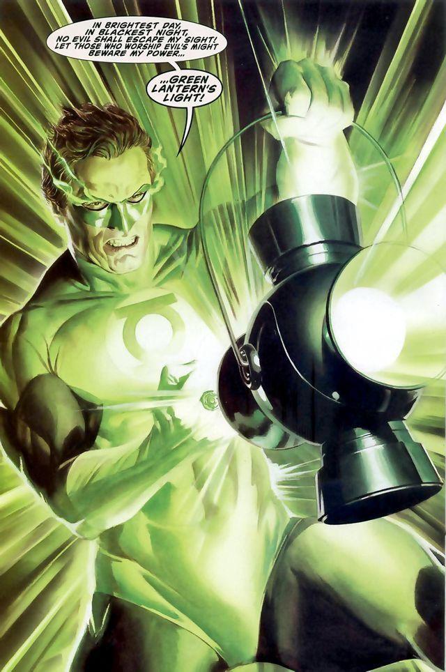 """""""No dia mais claro,  Na noite mais densa,  O mal sucumbirá ante a minha presença Todo aquele que venera o mal há de penar  Quando o poder do Lanterna Verde enfrentar.""""                          - Hal Jordan."""