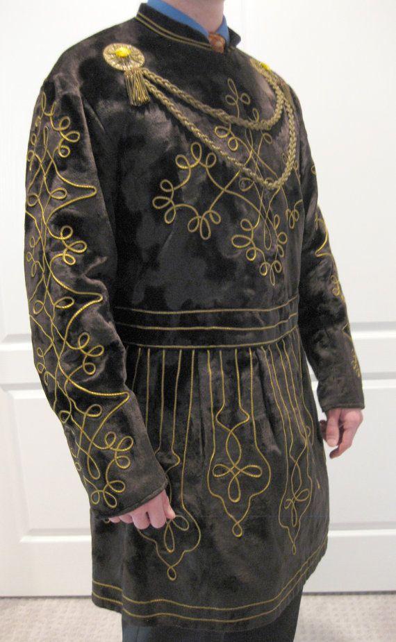 Antique Black Velvet Ceremonial Mens Lodge Robe Medieval Fantasy Tunic Costume Vintage Gold