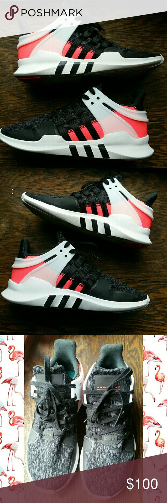 Adidas EQT Support ADV Re-Posh! These shoes didn't fit me the way I had hoped :( They are absolutely like new and clearly have not been worn but one or two times. Gray, black, white, and reflective neon pink/coral.   Size is youth 6.5. Fit me pretty tight but wearable, I am usually size 8 in women's Adidas and a size 8.5 in most other brands of shoes.  Make offers! Ask questions!   I offer free gifts, see my Free Gift With Purchase Listing Adidas Shoes Sneakers