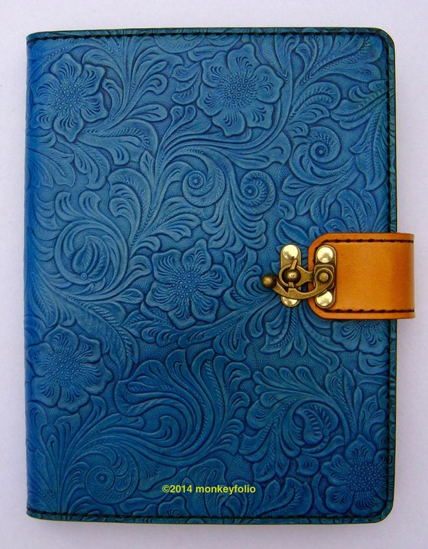 Refillable Leather A5 Folio - Floral-embossed - Turquoise / Tan