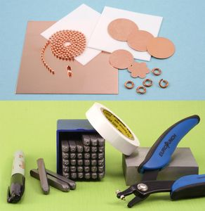 """Beaducation Stamping on Metal Starter Kit. Everything you need to get started making your very own stamped jewelry. Kit includes: Economy Block Uppercase Letter & Number Stamp Set 1/8"""", 1.5mm Metal Hole Punch Pliers, 2.5"""" x 2.5"""" Steel Bench Block, 3"""" x 3"""" copper sheet to practice your stamping, an assortment of copper blanks, 5 copper jump rings, 18"""" 2mm copper ball chain and clasp, Industrial Sharpie pen, 2 Pro Polish pads, Straight Tape, 8 page instruction booklet!"""