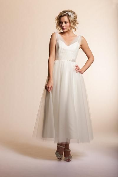 Summer by Amy Kuschel | Cut in tea length for a vintage 50's vibe with a sheer layered camisole bodice, this tulle number is accentuated with touches of Gatsby inspired glamour.
