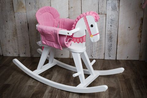 Pink and white wooden rocking horse, shabby chic.