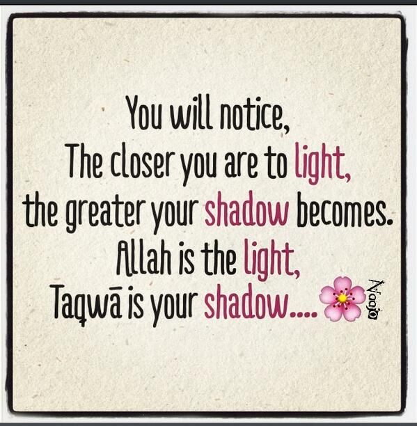 Allah is the light … Taqwa is your shadow...