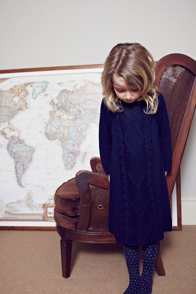 Navy Cable Knitted Dress